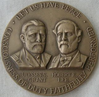 Civil War Centennial Commission,  U.  S.  Grant - R.  E.  Lee Medal,  1961 By J.  Renier photo