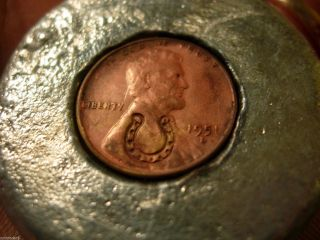 Encased Coin 1951 D Lincoln Wheat Cent Good Luck Paperweight Horseshoe photo