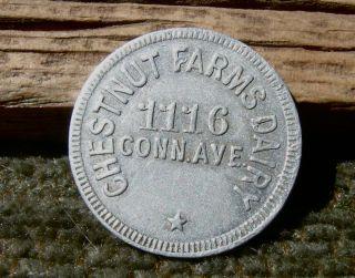 1900s Washington D.  C.  District Columbia Chestnut Farms Conn Ave Rare Milk Token photo