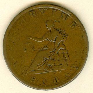 1813 G.  Irvine Strabane Penny Token,  W - 1901 photo