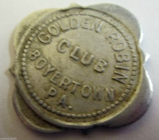 Good For 5 Cents Token Golden Robin Club Boyertown,  Pa photo