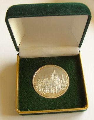 B937 Hungary Budapest Parliament Silver Medal In Presentation Box Magyarorszag photo