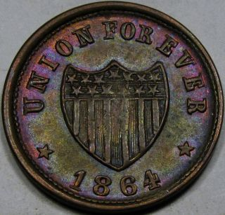 1864 Patriotic Civil War Token Choice Unc.  Ms+. . .  With Toning,  54/342a R1 photo