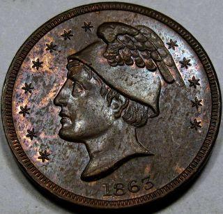 1863 Civil War Store Card Choice - Gem Unc.  Ms++rb. . .  Mercury Head, photo