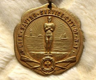 Rare Life Saving Service Of York Medal Heavy Gold Plated C 1880 - 1900 Uslss photo