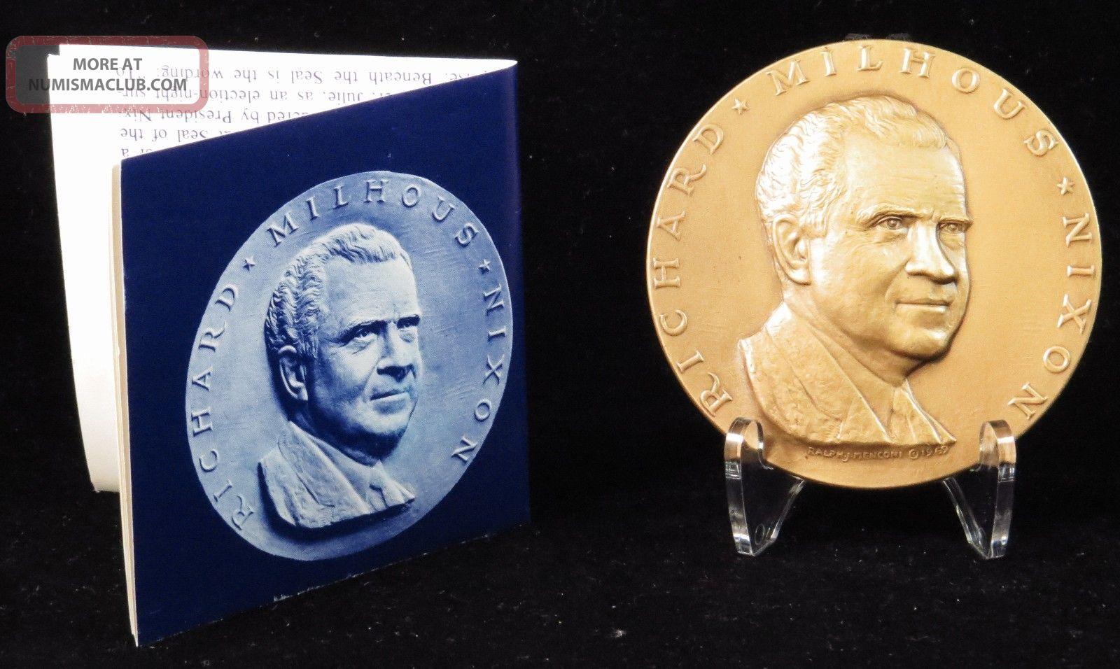 1969 Richard M.  Nixon Official Inaugural Medal Medallic Art Company Bronze Exonumia photo