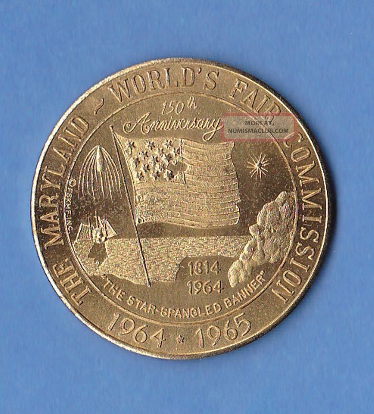 The Maryland World ' S Fair Commission 34mm Bronze Medallion 1964 1965 Exonumia photo