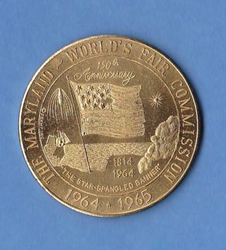 The Maryland World ' S Fair Commission 34mm Bronze Medallion 1964 1965 photo