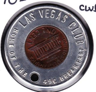 1970d Las Vegas Club,  Nevada Encased Cent Good Luck Token photo