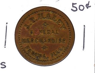 Unlisted Farina,  Illinois 50 Cents Token Small Lettering photo