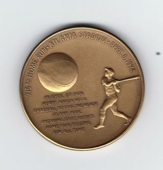 1974 Hank Aaron Medallic Art Company Bronze Medallion For His 715th Home Run photo