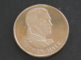 Nathan Hale Proof - Quality Solid Bronze Medal Danbury D0366 photo