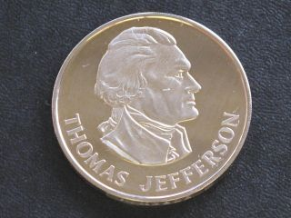 Thomas Jefferson Proof - Quality Solid Bronze Medal Danbury D0368 photo