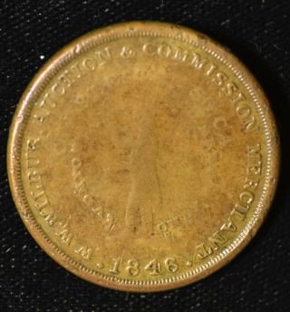 Rare Historic Slave Auctioneer Token - W.  W.  Wilbur,  1846 Charleston,  S.  C. photo
