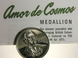 Medal Bc Centennial 1971 Amor De Cosmos Journalist Cuni photo
