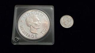 1969 Lincoln Heritage Trail Kentucky,  Illinois,  Indiana.  999 Silver Token Coin photo
