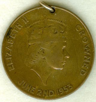 1953 Queen Elizabeth Ii Coronation Celebration Medal,  In Bronze photo