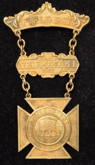1907 Newport Rhode Island Field Day Medal Badge Pin photo