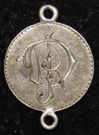 Love Token Charm 1858 Seated Liberty Silver Half Dime Engraved D J R (b21) photo