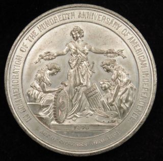 1876 U.  S.  Centennial Exposition Philadelphia Medal White Metal Julian Cm 11 photo
