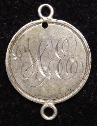 Love Token Charm 1868 Seated Liberty Silver Half Dime Engraved H E (b14) photo