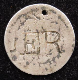 Love Token Charm 1839 Seated Liberty Silver Dime Engraved E R (b62) photo