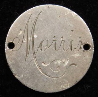 Love Token Charm 1890 Seated Liberty Silver Dime Engraved Morris (b57) photo