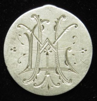 Love Token Charm 1876 Seated Liberty Silver Dime Engraved L Y H (b41) photo