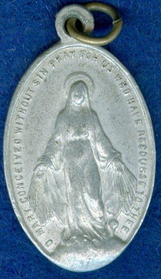 19th Century Aluminum Religious Medal,  Madonna, photo
