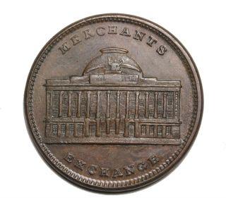 1837 Tontine Building York Merchants Stock Exchange Hard Times Token Au photo