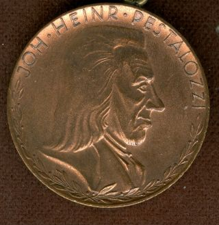 20th Century German Medal In Honor Of Joh Heinr Pestalozzi photo