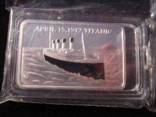 Titanic 24k 1 Oz Gold Layered.  999 Bullion Bar - In Acrylic Case photo