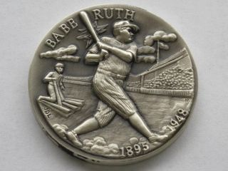 Babe Ruth Sterling Silver Medal Great American Triumphs Series D1621 photo