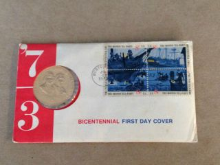 1973 Commemorative Medal Bicentennial First Day Cover photo