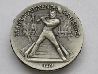 Transcontinental Railroad Sterling Silver Medal Great American Triumphs D1624 photo