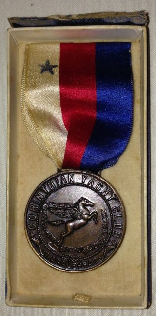 Antique 1926 Corinthian Yacht Club Marblehead Bronze Medal W Box Wood & Sons photo