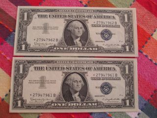 2 $1 1957 B Silver Certificate Star Notes Uncirculated In Sequence photo