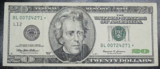 1999 $20 Dollar Federal Reserve Star Note Grading Vf 4271 Pm5 photo