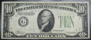 1934 $10 Dollar Federal Reserve Star Note Chicago Grading Xf 6359 Pm5 photo