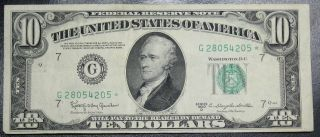 1950 D $10 Dollar Federal Reserve Star Note Chicago Grading Xf 4205 Pm5 photo