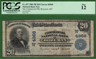 {bozeman} $20 02pb The Commercial National Bank Of Bozeman Montana Ch W4968 photo