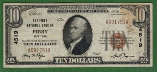 {perry} $10 The First National Bank Of Perry Ny Ch 4519 F+ One Bank Town photo