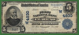 {el Reno} $5 02pb The First National Bank Of El Reno Oklahoma Ch W4830 Vf photo