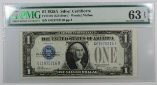 1928a One Dollar $1 Silver Certificate Fr 1601 (gb Block) Pmg Cu - 63 Epq Ww photo