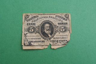 5 Cent Note Fractional Currency.  3rd Issue 3 - 3 - 1863.  R.  C.  Clark Portrait photo