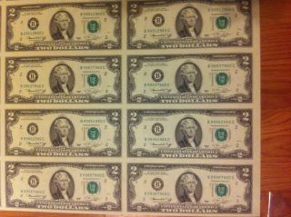 2009 Uncut Sheet $2 X 8 Early Release Crisp - Fresh 2 Dollars Extremely Rare photo