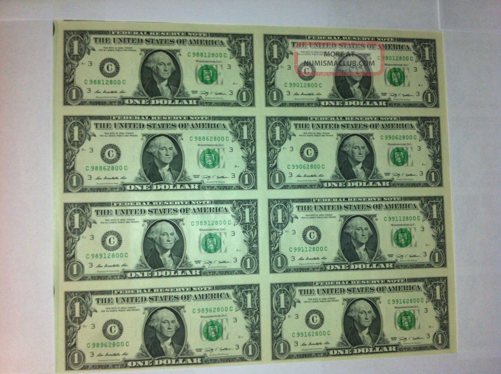 Uncut Sheet 1x 8 Legal 1 Dollar Real