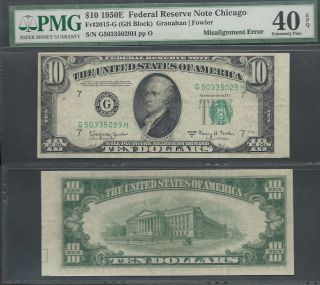 $10 1950 - E=scarce Series=misalignment Error=pmg 40 Epq photo