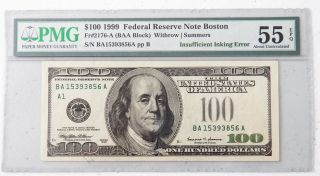 1999 Frn $100 Dollar Bill Error Missing Green Treasury Seal,  Pmg 55 Unc Rare photo