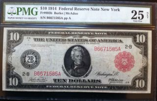 1914 $10 Federal Reserve Red Seal Note - Pmg Graded As 25 Very Fine Net photo